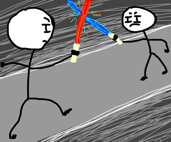 Stick men engaged in epic lightsaber duel