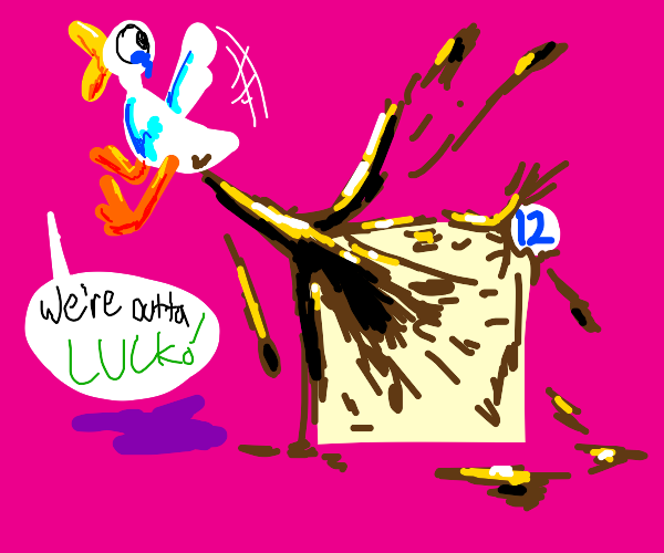 The Duck poops on panel 12. All Luck is gone.