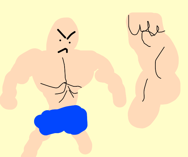 buff guy is angry at a similiar arm to his