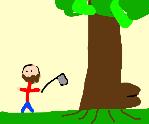 Lumberjack cutting down THICC tree