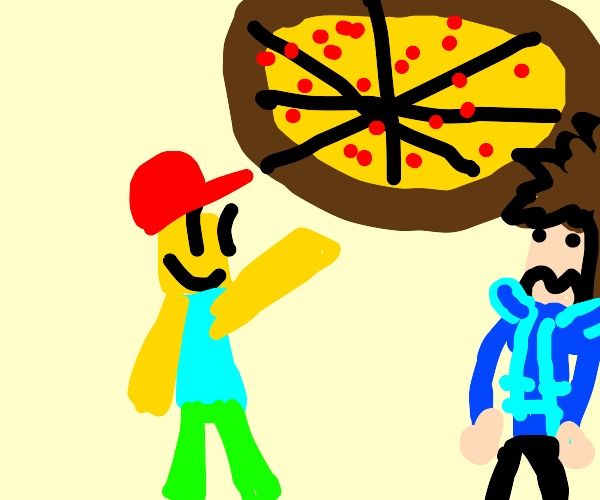 Man is trying to sell giant pizza