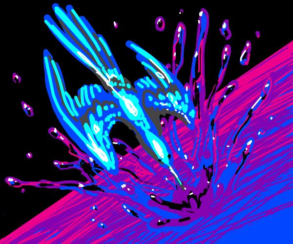 Blue bird dived into neon pond