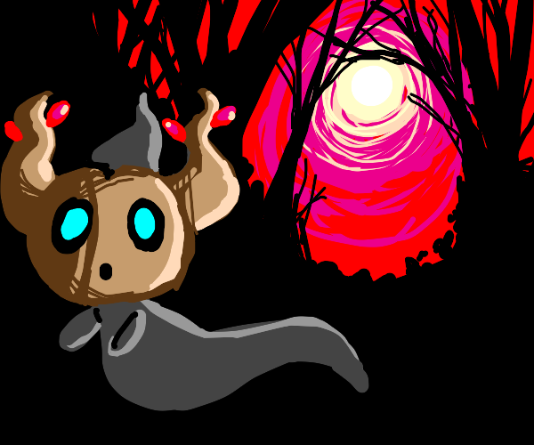 Shiny Phantump in a dark forest