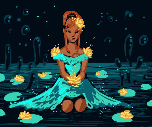 Beautiful lily-pad girl