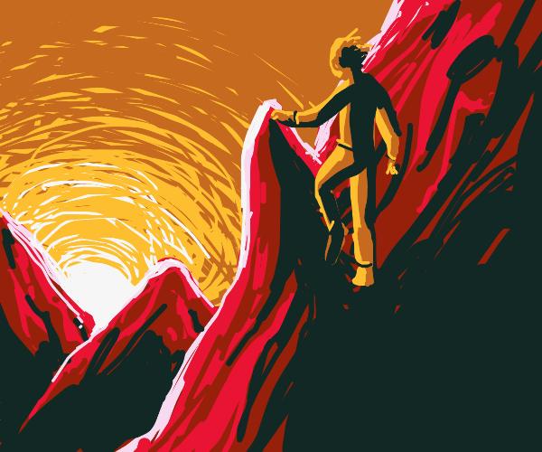 Giant yellow guy climbing mountain