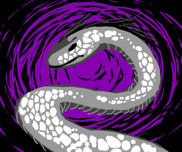 White snake with hair in penlight(?)