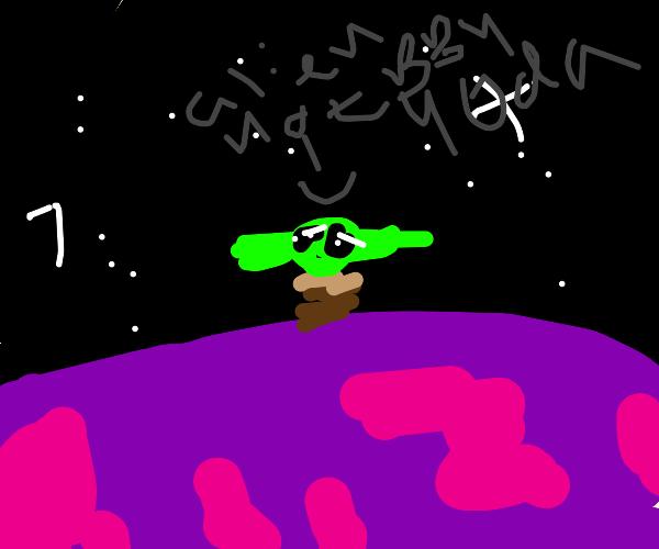 Alien on purple planet