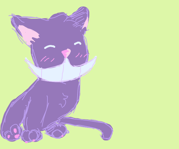 Purple cat with huge mouth
