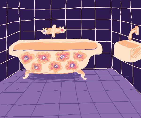 Classy bathtub with blue floral designs