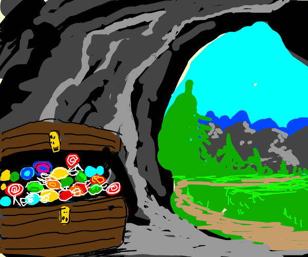Candy treasure in the cave.