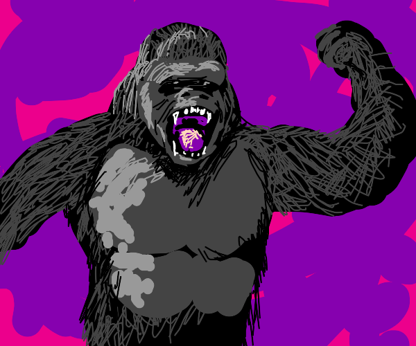 Gorilla is angry, in a purple void