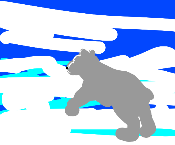 polar bear in a snowstorm