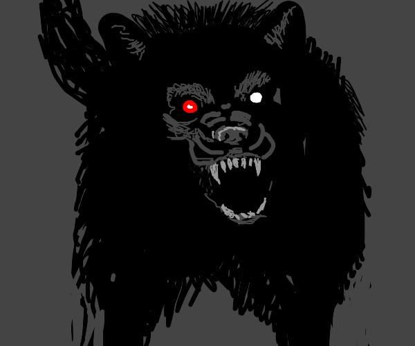 ferocious black wolf with a glowing, red eye