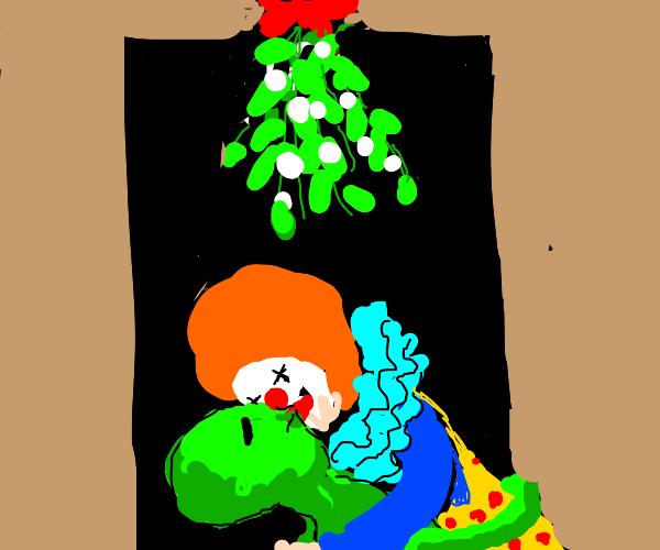 Alien and clown under a mistletoe