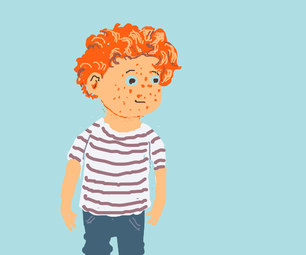 redheaded kid with freckles no nose