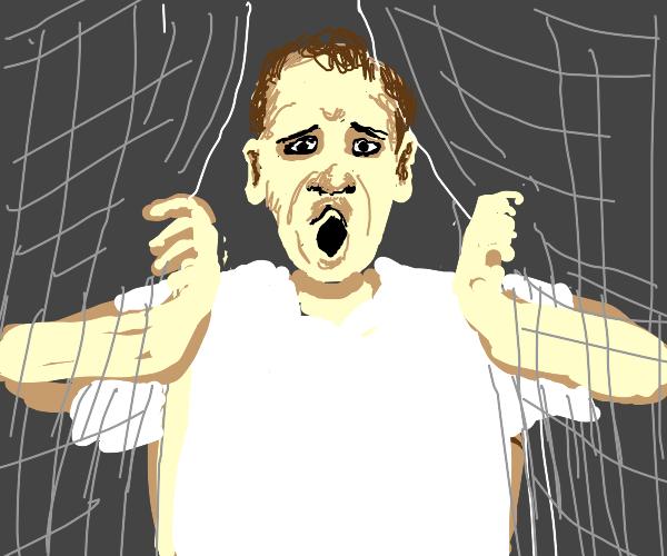 Surprised man behind curtains
