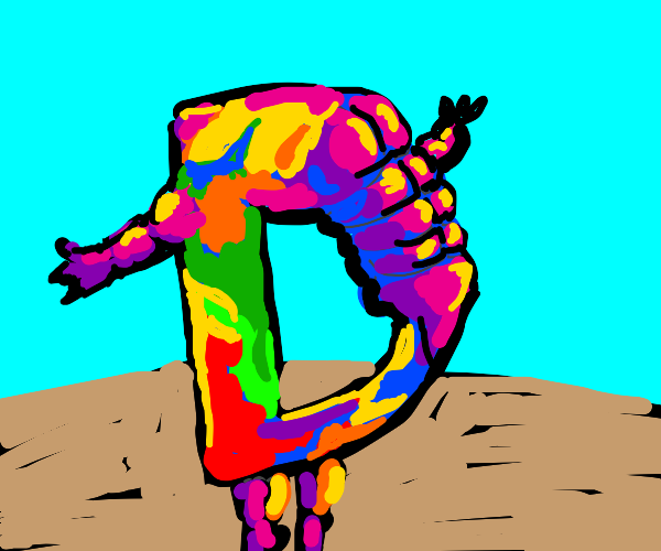 Colorful drawception with muscles