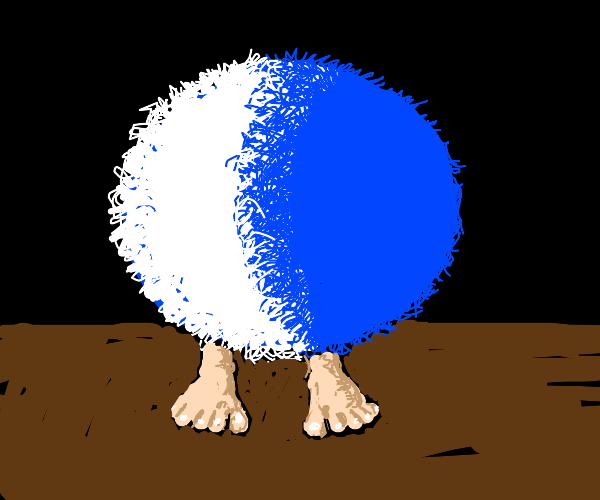 fluffy blue and white sphere with human feet