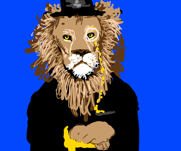 A lion with a top hat and monocle