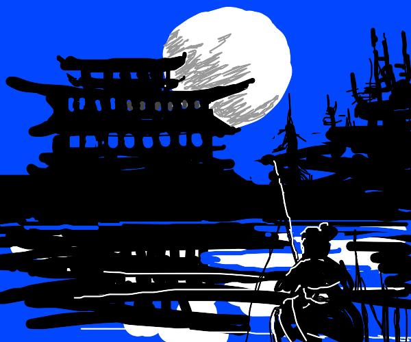 Japanese man fishing in the night