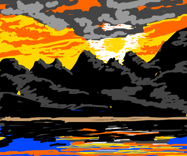 Beautiful sunset over the mountains