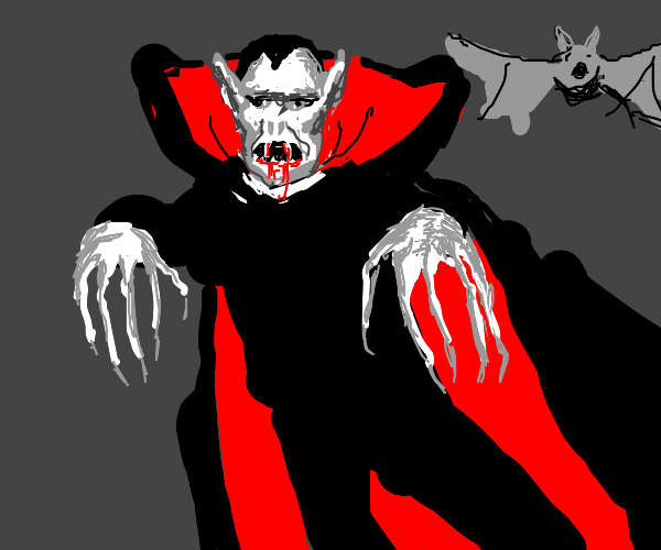 A vampire with bloody fangs and a bat