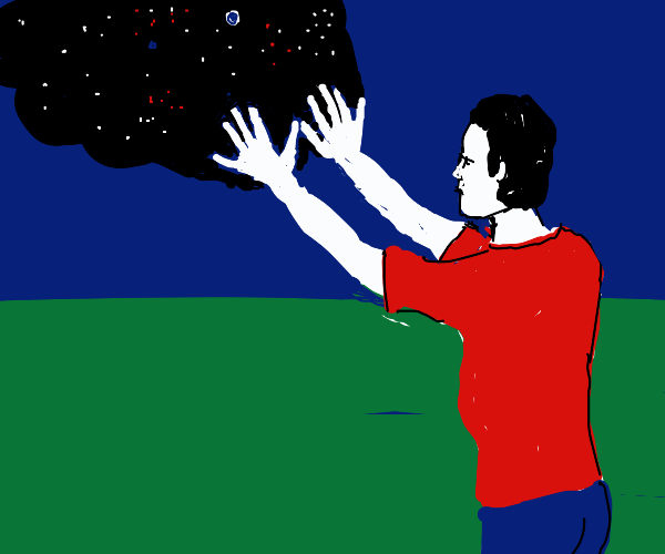 A man shoots the void out of his hand