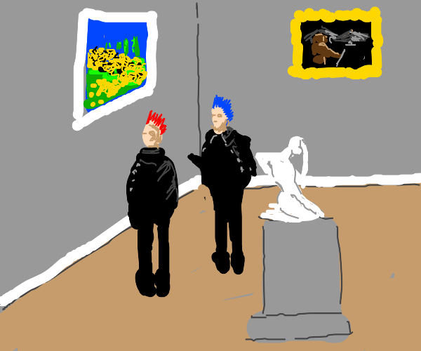 Two punks at an art gallery