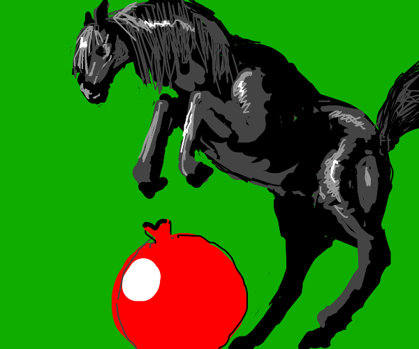 black horse jumping over red balloon