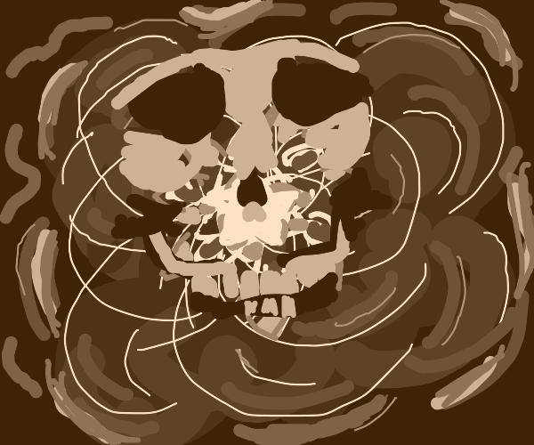 Skull in magic energy field
