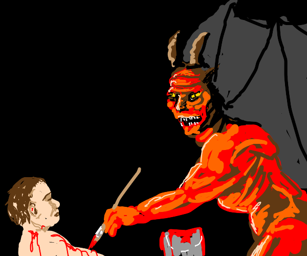 Devil paints red as pretend blood on a person
