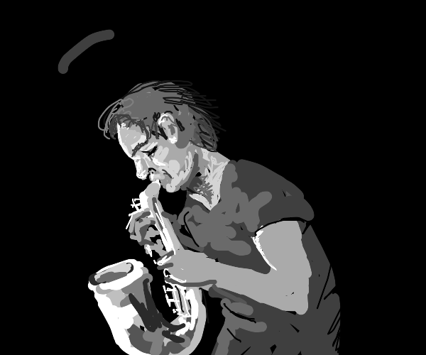 Grayscale man playing the saxophone outside