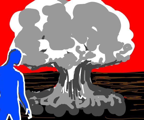 Blue Guy sees mushroom cloud