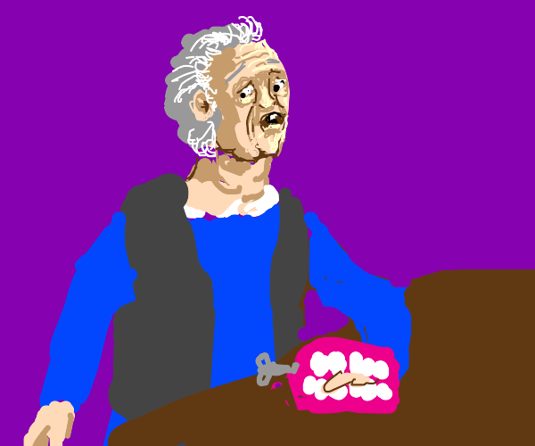 wind-up denture toy bites an old woman