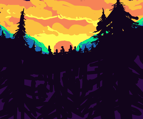 forest and mountain under beautiful sunset