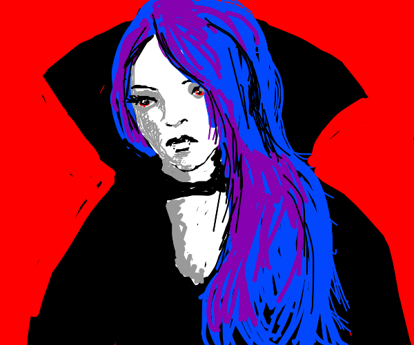 Vampire girl with purple, black and blue hair