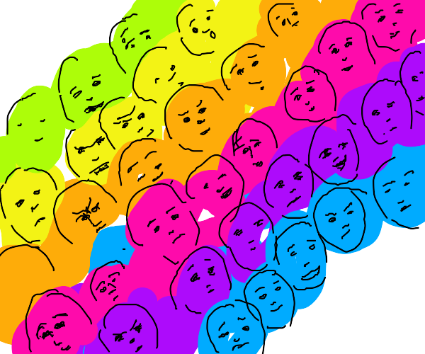 A rainbow of people and emotions