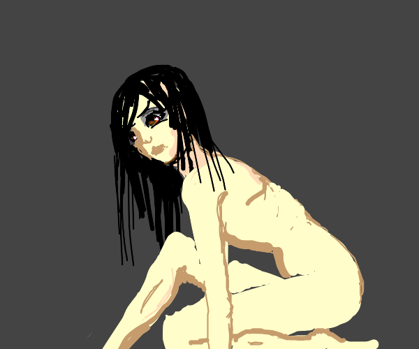 Crazy anime girl has her clothes off