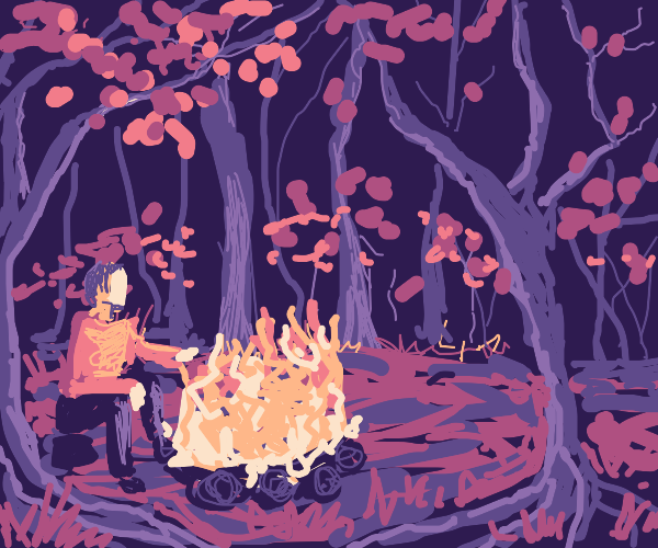 Campfire in circle of trees
