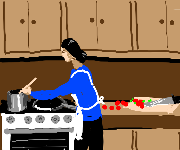 Lady cooking.
