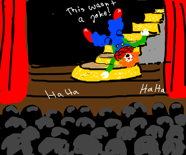 Clown falls down the stairs