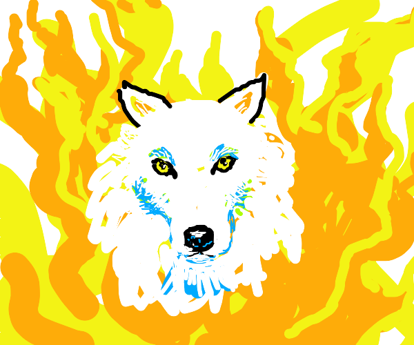 white wolf in a fire