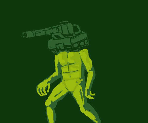 A humanoid alien with a tank for a face