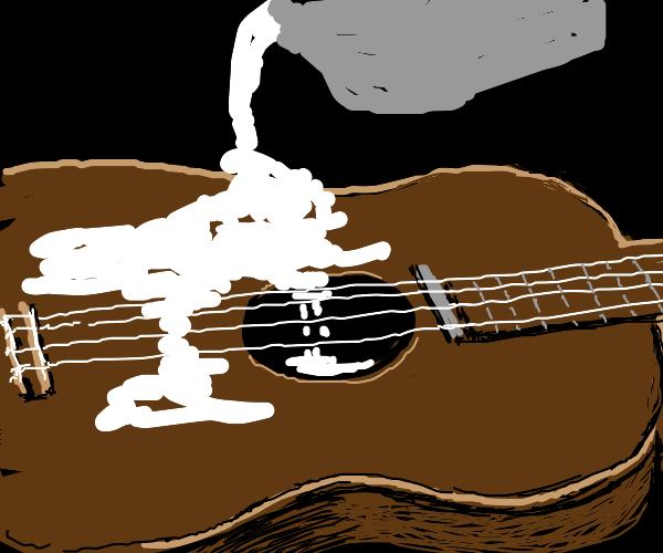 Plaster on guitar