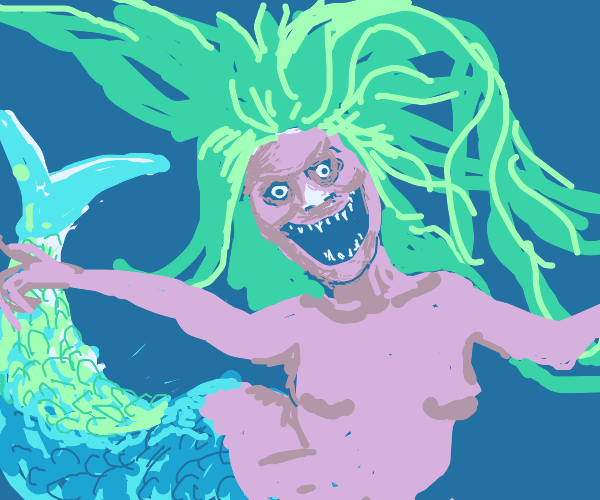Crazy mermaid-witch with glowing white nose