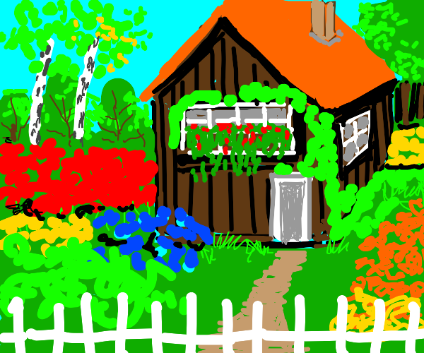 A brown house with a flower garden