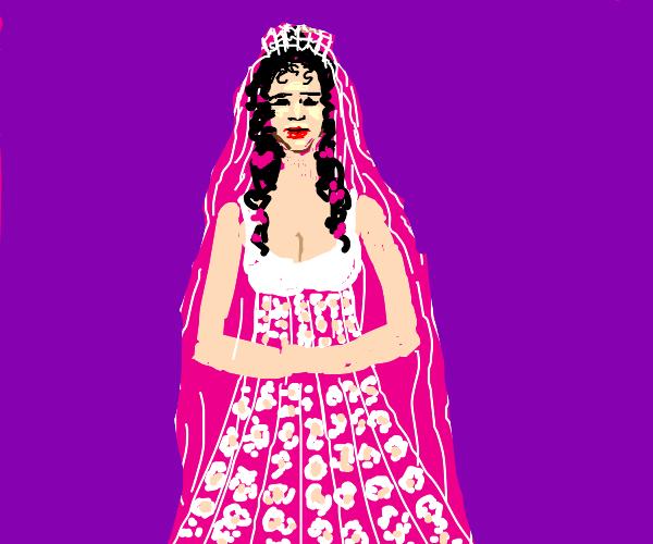 Lady in a cool wedding dress