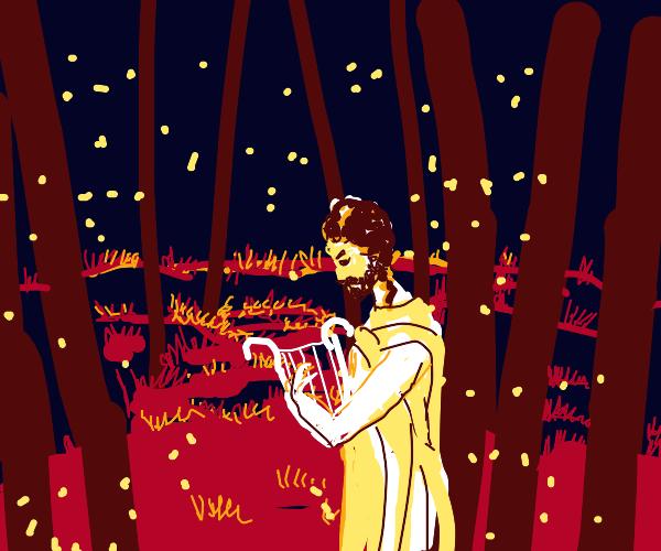 nice creek in a forest w/ fireflies