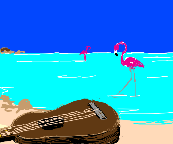 Tall flamingo stands by a guitar