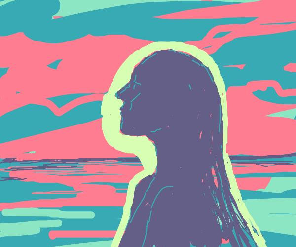 spiritual silhouette of head in profile
